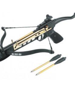Pištoljski samostrel dužine luka 17,5 inča (44,45 cm) izrađen od aluminija i fiberglasa.
